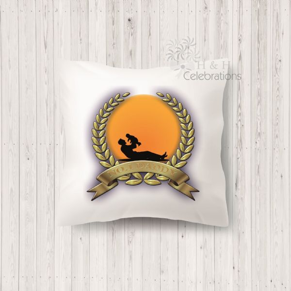 No 1 Daddy And Infant Laurel Silhouette Personalised Cushion